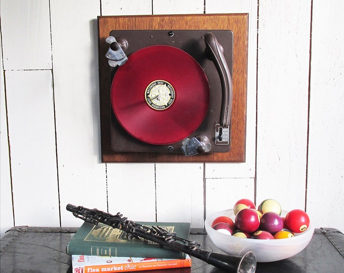 Featured listing image: 1950s Record Turntable Turned Wall Art for the Music Lover - Retro Turntable Art