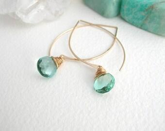 Aquamarine Long Hoop Earrings