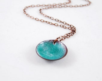 Pretty Shimmery Sea Green Domed Circle Enamel Pendant Necklace