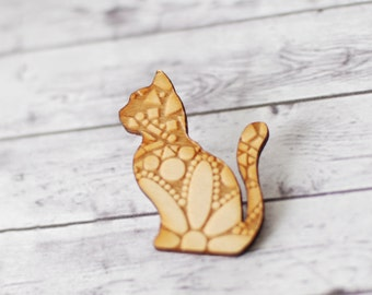 Cat brooch components, Cat pendants, Cat jewelry supplies, Large wood pendants, lasercut wood, cat with engraved pattern, Sitting cat 1 pc