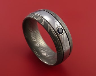 Damascus Steel Ring with Bezel Set Blue Sapphire Custom Made Band