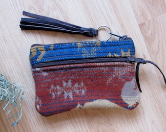 Grab N Go Essentials Zipper Purse Sunglasses Wallet Coin & Card Case Land of the Buffalo Pattern Southwest Clutch 6 x 4.25