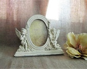 Cottage Chic Cherub Frame in French Vanilla / Cherub Photo Frame for Wedding or Home Decor