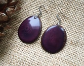 LARGE Plum Earrings. Tagua nut jewelry.  Purple earrings. Light weight earrings. Violet earrings. Sela Designs. Charity.