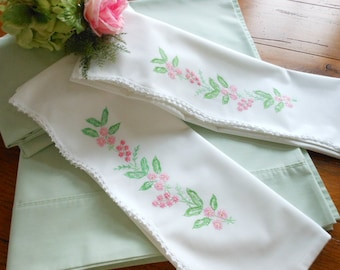 Mint Green Vintage Full Size Sheet Set Vintage Hand Embroidered Pillowcases Free Shipping