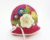Crochet Hat - Crochet Bonnet - Girls Hat - Womens Hat - Cloche Hat - Crochet Panama Hat - Spring Bonnet - Spring Hat - Floral Hat