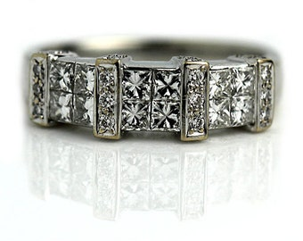 Vintage Wedding Ring Vintage 1.60ctw Princess Cut Diamond Ring Vintage Wedding Ring 18K White Gold Ring 1980s Engagement Wedding Ring Size 7