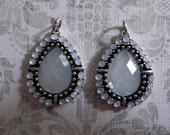 Pale Green Opal Teardrop Charms or Pendants in Silver - Qty 2