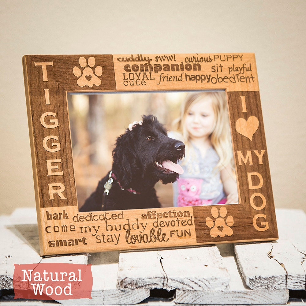 Personalized Dog Picture Frame Engraved On Wood I Love My Dog