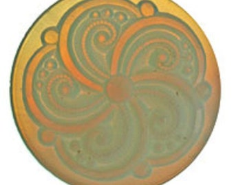 Swirl Textured 35mm Glass Jewel - White Opal - Stained Glass and Jewelry Making