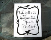 LETTERPRESS ART PRINT-Where there is no imagination there is no horror. Arthur Conan Doyle