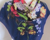 """Beautiful Dark Blue Floral Soft Silk Scarf // 30"""" Inch 76cm Square // Best of the Best"""