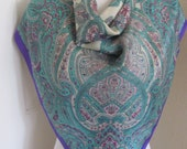 "Specialty House // Blue Paisley Soft Silk Scarf // 30"" Inch 76cm Square // Best of the Best"