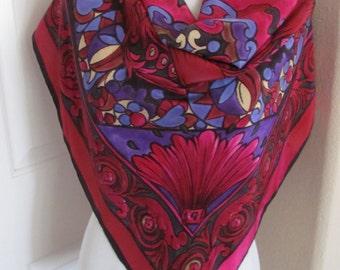 "Designer Beautiful Magenta Red Soft Silk Scarf  // 33"" Inch 84cm Square"