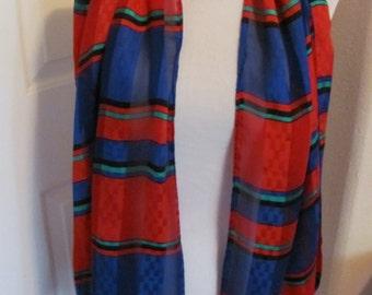 "Beautiful Red Blue Soft Soft Silk Scarf // 17"" x 60"" Long"