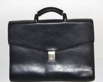 ON SALE Vintage Black Leather Briefcase Satchel Made In Italy Messenger Bag Attache Handle