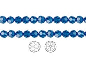 Swarovski Crystal Beads Capri Blue 5000 Faceted Round 6mm Package of 12