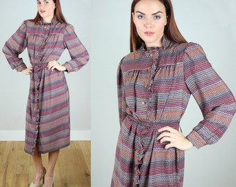 Vintage 1980s Secretary Dress with Multi-colored stripe Print