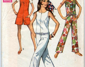 Misses' Jumpsuit in Two Lengths With Three Necklines Sewing Pattern - Simplicity 8198 - Size 10 - Bust 32-1/2