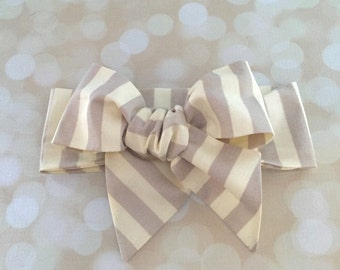 Head Wrap in Premium Designer Woven Cotton - Cream and Grey Stripe Head Wrap - Headband - Turban - Toddler Head Wrap - Newborn Photo Prop