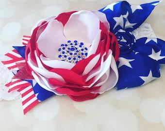 Couture Satin Patriotic Headband - 4th of July Headband - Over the top headband - Ref White and Blue Headband