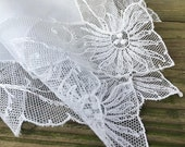 Vintage Lace Bridal Hankie Bridal Handkerchief White Lace Hankie White Brides Handkerchief Heirloom Wedding Hankie Tambour Lace Handkerchief