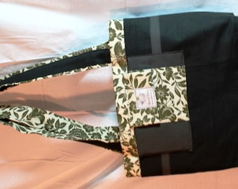 Olive Green Floral Tote, Beach bag, Diaper bag, Weekender, Business Tote, Crafters bag, Knitting Bag, Messenger, Tote, Carry on, OOAK