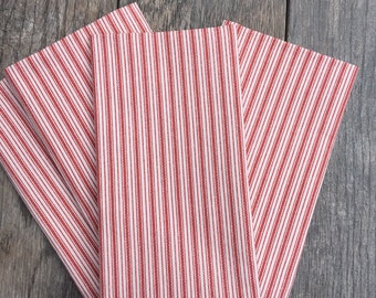 Farmhouse decor,Red Striped cloth napkins, cotton napkins,reusable cloth napkins, napkins cloth ,napkins  ,dinner napkins, eco friendly