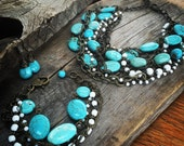 RESERVED for Ladiimarra Custom Bridal Necklace Jo'ellie Boutique turquoise statement chunky multi layered necklace rustic country wedding