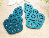 WP49 / #10 Deep Blue / Moroccan Style Filigree Wood Findings For Earring/Laser Cut Lace Charm / Pendant /  Colorful wooden pendant earrings
