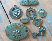 Love charms Collection Aged Look verdigris patina 8 Different Charm/pendant