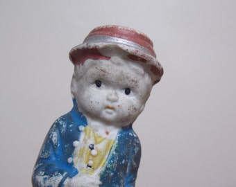 Small Bisque Doll Boy in Red Hat Frozen Charlotte