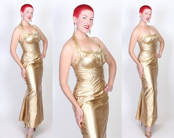 RARE 1950s Custom Made Liquid Metallic Gold Lame' Extreme Hourglass Evening Gown w/ Shelf Bust, Detachable Halter Strap & Back Train - M