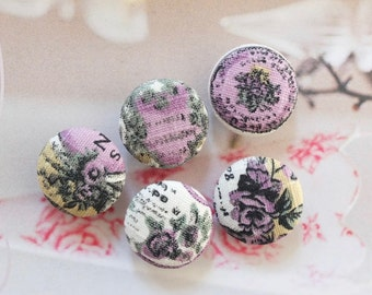 Fabric Covered Buttons (M) - Retro French Style  Dark Purple Rose Floral Flower Garden (5Pcs, 0.87 Inch)