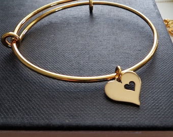 Mom bracelet, heart cutout charm bangle, mom gift from daughter, mother daughter jewelry, mother in law