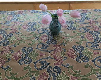 Table Cloth TBCS1609 Table Cloth, Tablecloth, Small Tablecloth, Small Table Cloth, Colorful Swirls on Tan, Up Cycled Fabric