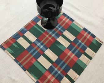 NAPL1522E  Checkered, Plaid Napkins, Napkin Set, Cloth Napkins, Linen Napkins, Linens, Table Setting