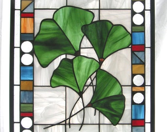 """Four Gingko Leaves  with Geo Border- 16"""" x 22""""- Stained Glass Window Panel"""