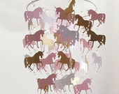 Crystal Unicorn Gold Glitter Pink White Unicorn Baby Mobile Crystal Chandelier Nursery Baby Mobile Shabby Chic Nursery Photography Prop