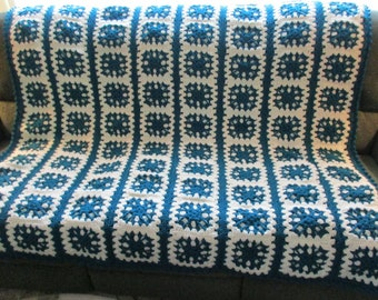 Handmade Crochet Striped Textured Granny Afghan Dark Teal and Aran (Off White) 60 x 64
