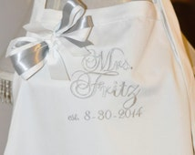 """Wedding Apron, """"Mrs."""" with Bride's New Married Name Personalized Apron Bridal Shower Gift Monogrammed Apron"""