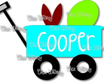 Easter Wagon SVG, Easter Egg SVG, Wagon Svg, Wagon with Bunny Ears and Easter Egg, Boys Easter Design