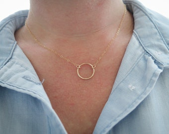 Karma Necklace, Dainty Circle Necklace, 14k Gold Fill or Sterling Silver Hammered Open Circle by Betsy Farmer Designs
