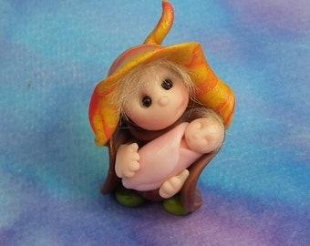 "Tiny 'Ariane' & 'Baby Cate' Gnomes 1+3/4"" OOAK Sculpt by Sculpture Artist Ann Galvin Art Doll"