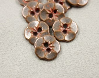 Dark Copper Flower Metal Hole Buttons With Red Stamens - 0.51 inch - 10 pcs