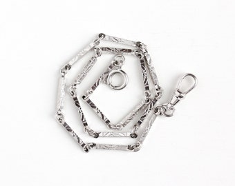 Vintage White Gold Filled Art Deco Pocket Watch Chain - 1930s Swivel Clip Spring Clasp Decorative Panel Linked Silver Tone Men's Jewelry