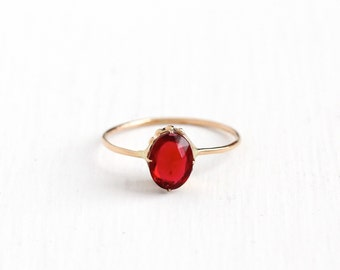 Sale - Antique 14k Rosy Yellow Gold Simulated Ruby Ring - Edwardian Vintage Size 7 3/4 Oval Red Glass Fine Stick Pin Conversion Jewelry