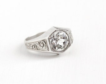 Vintage Art Deco Sterling Silver White Rhinestone Filigree Ring - 1920s Size 6 3/4 Round Glass Stone Statement Engagement Style 20s Jewelry