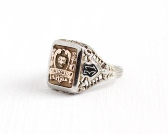 Sale - Vintage 10k White & Rose Gold Yukon HS Filigree Ring - Size 5 Art Deco Dated 1931 Black Enamel Wild Cat Class School Fine Jewelry