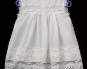 Vintage 60s 70s Off-White Nylon Sheer Lightweight Baby Dress Sz 1